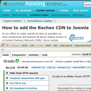 Yslow results for Joomla Hosting Reviews